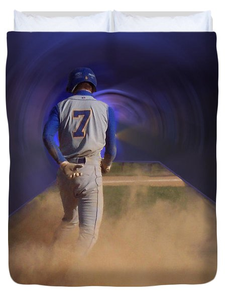 Pop Slide At Third Base Duvet Cover by Thomas Woolworth