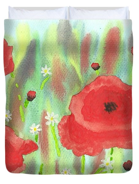 Poppies And Daisies Duvet Cover by John Williams