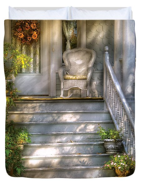 Porch - Westfield NJ - Grannies Porch  Duvet Cover by Mike Savad