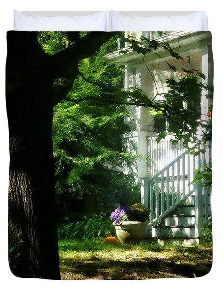 Porch With Pot Of Chrysanthemums Duvet Cover by Susan Savad
