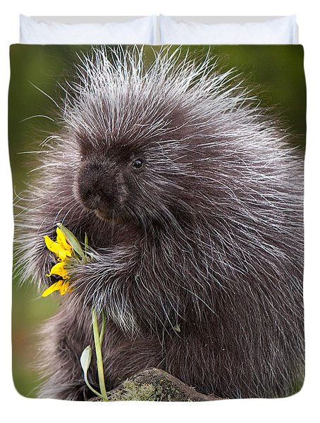 Porcupine With Arrowleaf Balsamroot Duvet Cover by Jerry Fornarotto