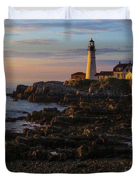 Portland Head Lighthouse At Dawn Duvet Cover by Diane Diederich
