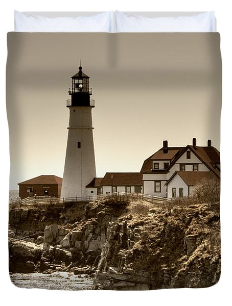 Portland Head Lighthouse Duvet Cover by Joann Vitali