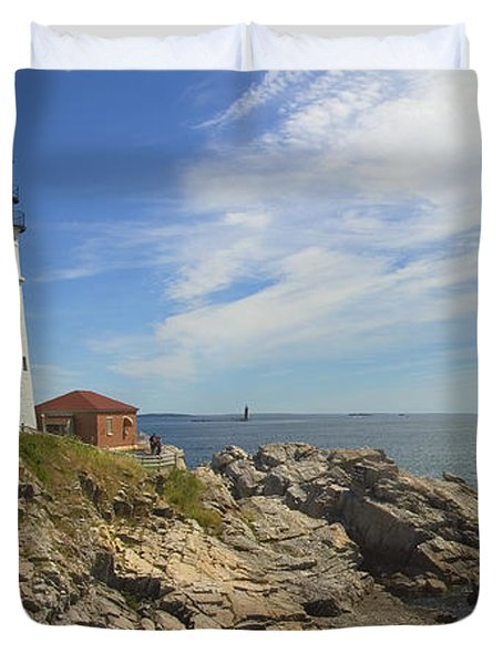 Portland Head Lighthouse Panoramic Duvet Cover by Mike McGlothlen