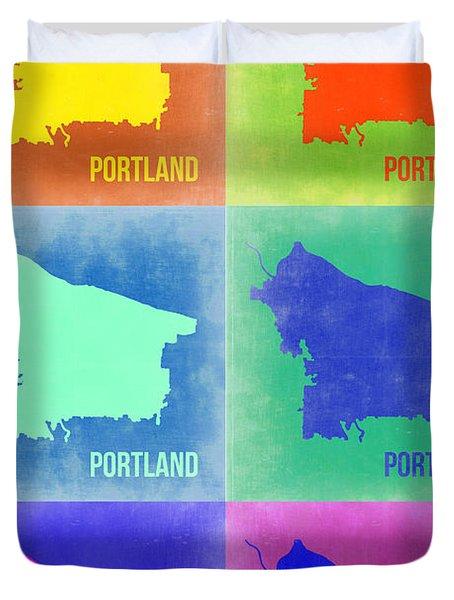 Portland Pop Art Map 3 Duvet Cover by Naxart Studio