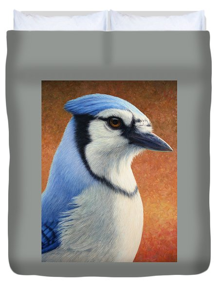 Portrait Of A Bluejay Duvet Cover by James W Johnson