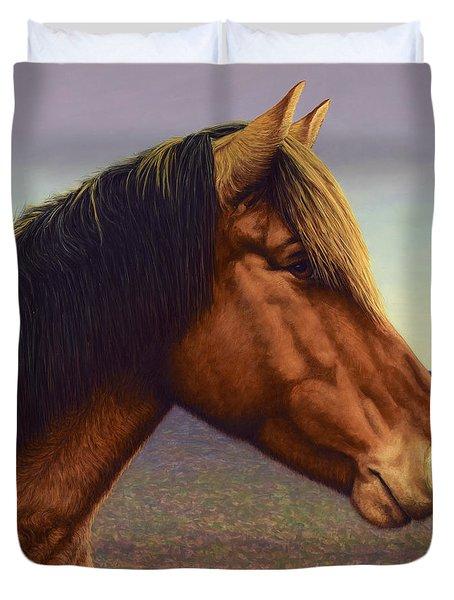 Portrait Of A Horse Duvet Cover by James W Johnson