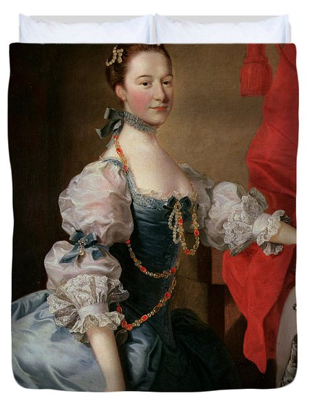 Portrait Of A Lady In A Blue Gown Duvet Cover by Thomas Hudson