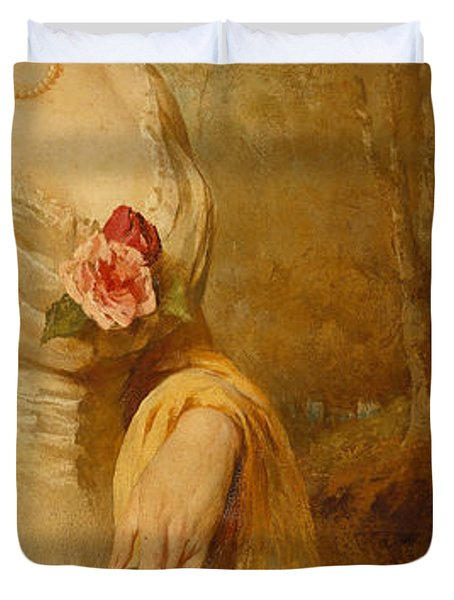 Portrait Of A Lady In A White Dress Duvet Cover by George Elgar Hicks
