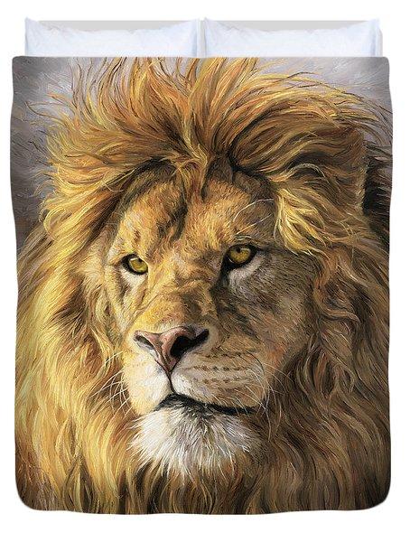 Portrait Of A Lion Duvet Cover by Lucie Bilodeau
