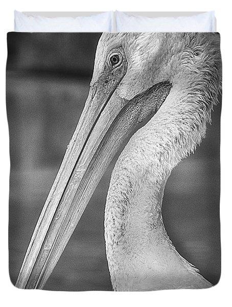 Portrait Of A Pelican Duvet Cover by Jon Woodhams