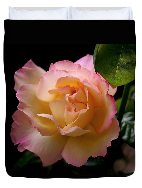 Portrait Of A Rose Duvet Cover by Rona Black