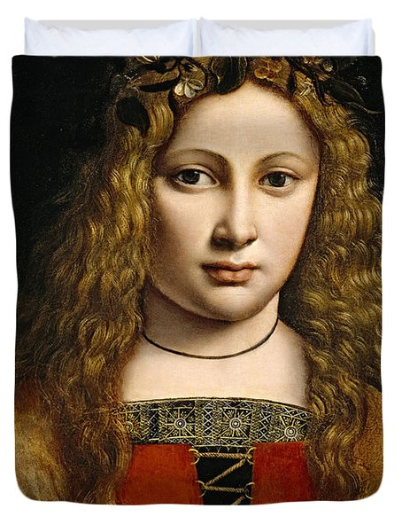 Portrait of a Youth Crowned with Flowers Duvet Cover by Giovanni Antonio Boltraffio