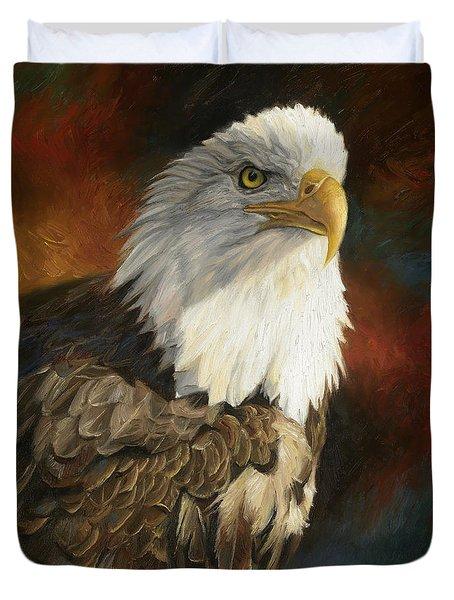 Portrait Of An Eagle Duvet Cover by Lucie Bilodeau