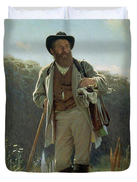 Portrait Of Ivan Ivanovich Shishkin Duvet Cover by Ivan Nikolaevich Kramskoy