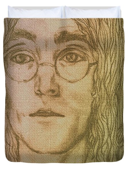 Portrait Of John Lennon Duvet Cover by Joan-Violet Stretch