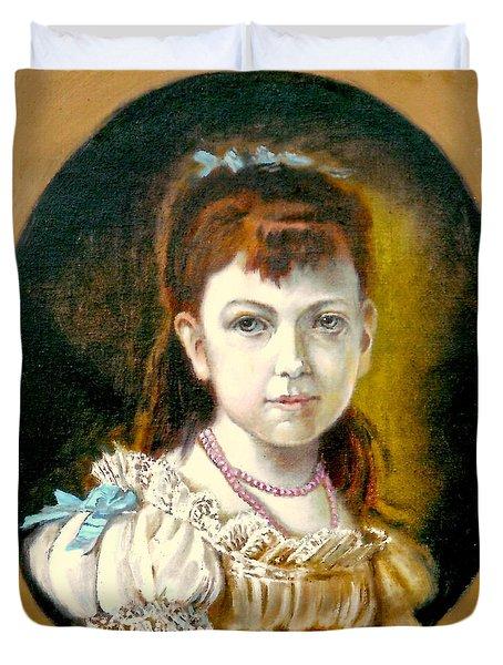 Portrait Of Little Girl Duvet Cover by Henryk Gorecki