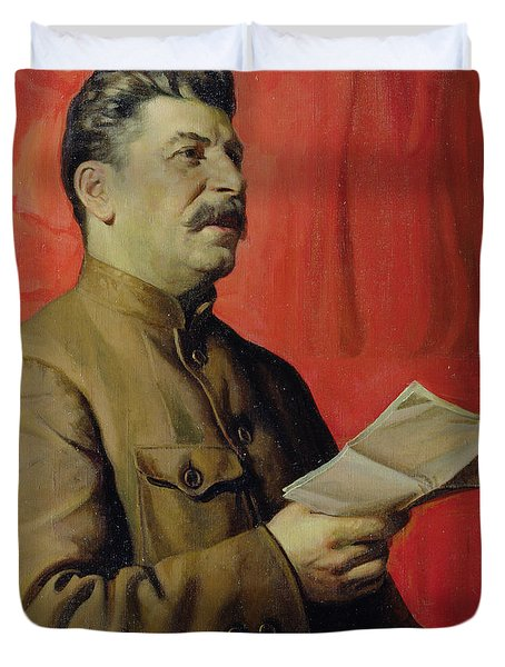 Portrait Of Stalin Duvet Cover by Isaak Israilevich Brodsky