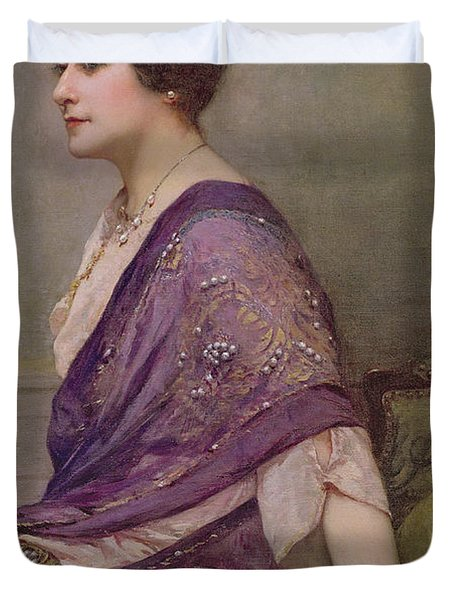 Portrait Of Th Ecourturier Madame Paquin Duvet Cover by Henri Gervex