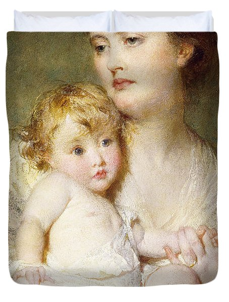 Portrait Of The Duchess Of St Albans With Her Son Duvet Cover by George Elgar Hicks