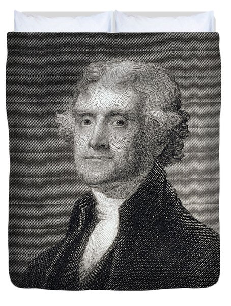 Portrait Of Thomas Jefferson Duvet Cover by Henry Bryan Hall