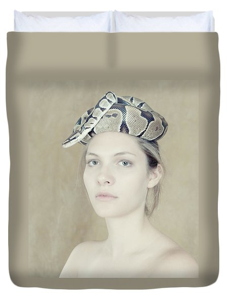 Portrait With The Snake Duvet Cover by Zina Zinchik