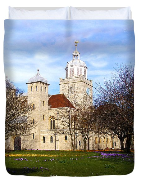 Portsmouth Cathedral At Springtime Duvet Cover by Terri Waters