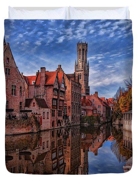 Postcard Canal Duvet Cover by Joan Carroll
