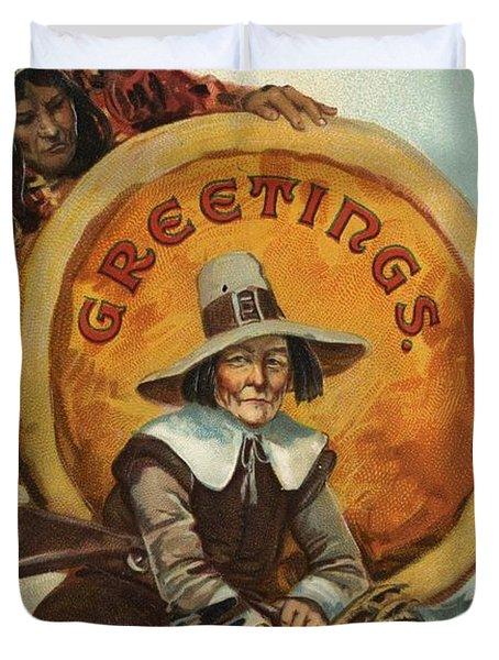 Postcard Of Pilgrim Plucking A Turkey Duvet Cover by American School