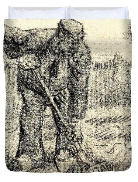 Potato Gatherer Duvet Cover by Vincent Van Gogh