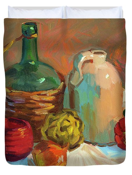 Pottery And Vegetables Duvet Cover by Diane McClary