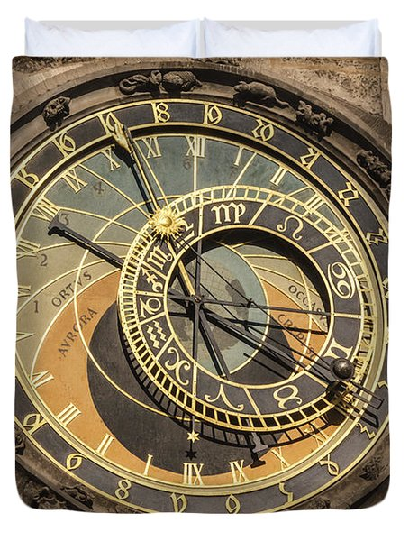 Prague Astronomical Clock Duvet Cover by Joan Carroll
