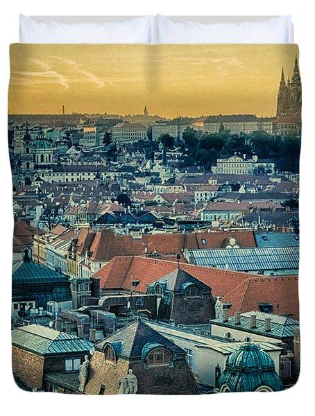 Prague Castle Sunset Duvet Cover by Joan Carroll