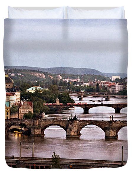 Prague Cityscape - Texture Duvet Cover by Barry O Carroll