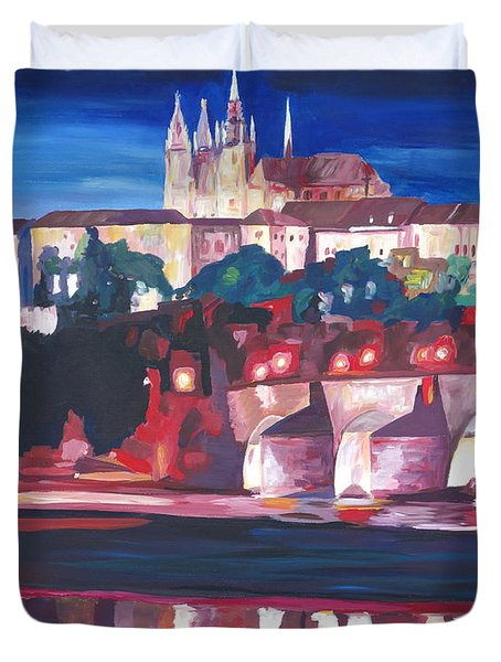 Prague - Hradschin With Charles Bridge Duvet Cover by M Bleichner