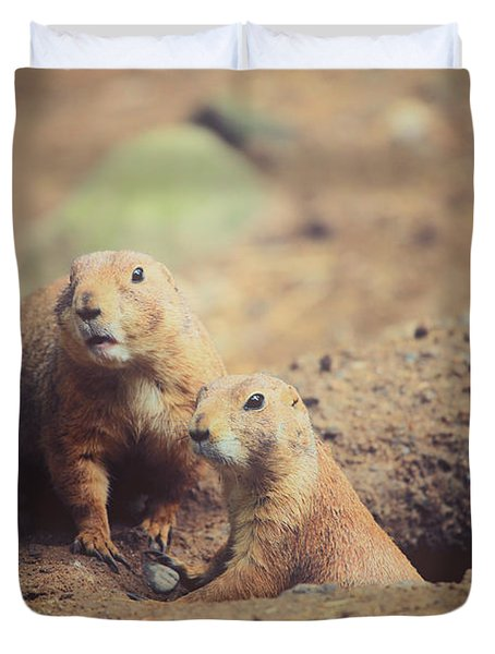 Prairie Dogs Duvet Cover by Karol  Livote