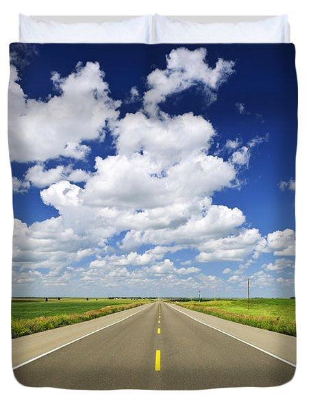 Prairie highway Duvet Cover by Elena Elisseeva