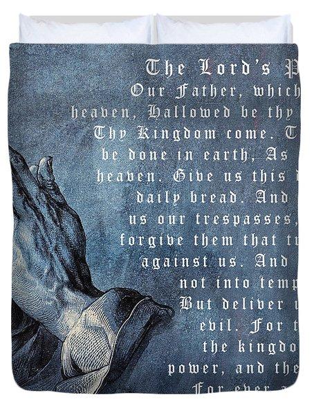 Praying Hands Lords Prayer Duvet Cover by Albrecht Durer