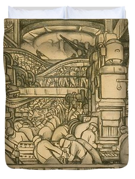 Presentation Drawing Of The Automotive Panel For The North Wall Of The Detroit Industry Mural Duvet Cover by Diego Rivera