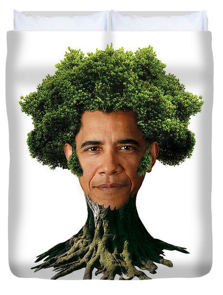 President Barack Obama as a tree Duvet Cover by Marian Voicu