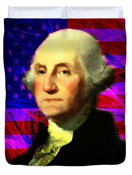 President George Washington v2 m123 square Duvet Cover by Wingsdomain Art and Photography