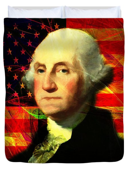 President George Washington V2 M20 Square Duvet Cover by Wingsdomain Art and Photography