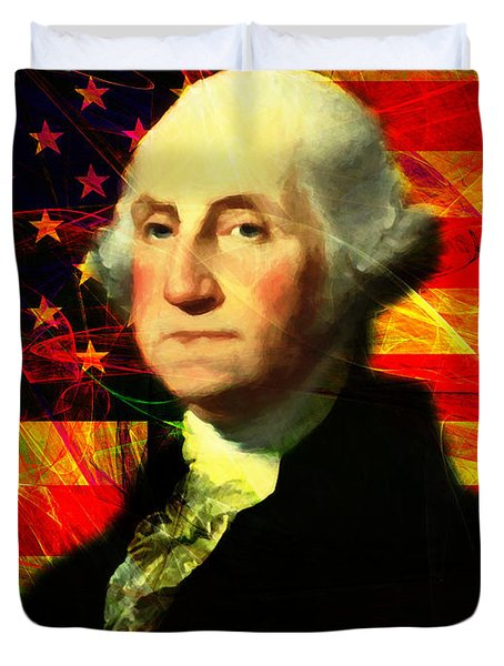 President George Washington V2 M20 Duvet Cover by Wingsdomain Art and Photography