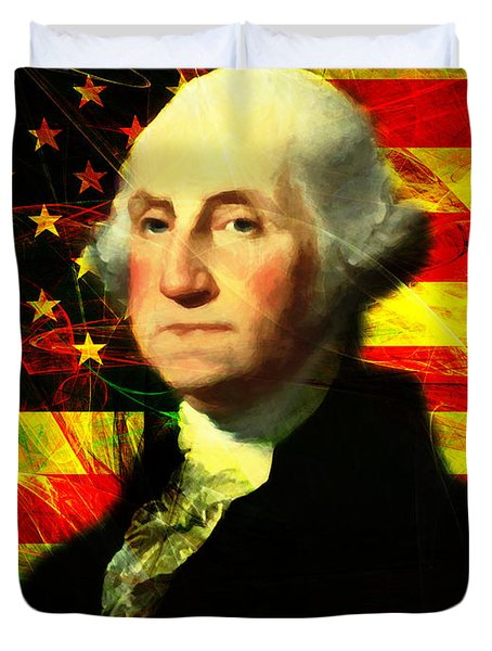 President George Washington v2 Duvet Cover by Wingsdomain Art and Photography