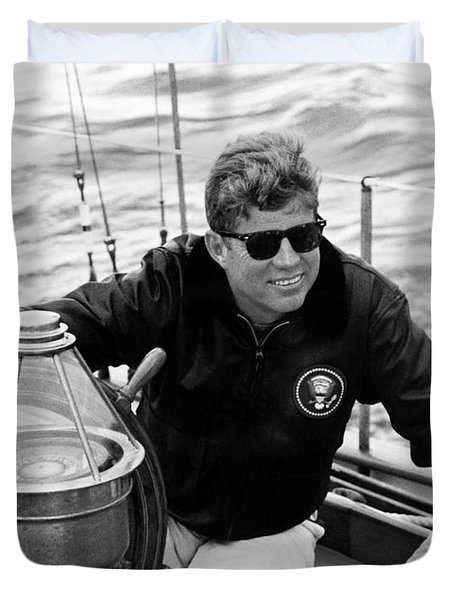 President John Kennedy Sailing Duvet Cover by War Is Hell Store