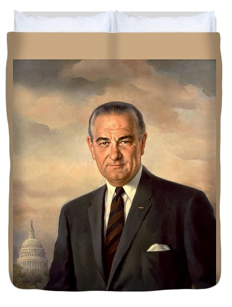 President Lyndon Johnson Painting Duvet Cover by War Is Hell Store