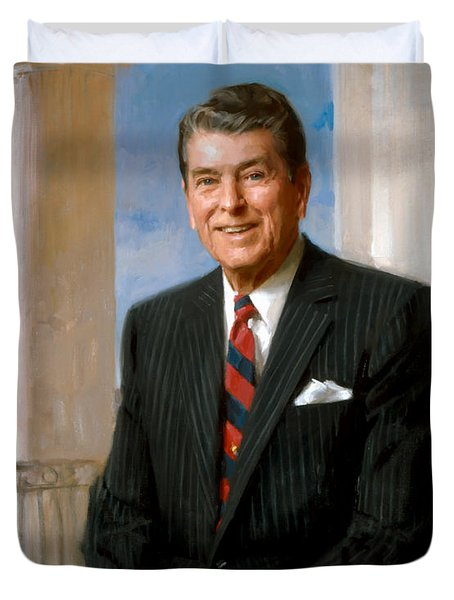 President Ronald Reagan Official Portrait Duvet Cover by War Is Hell Store