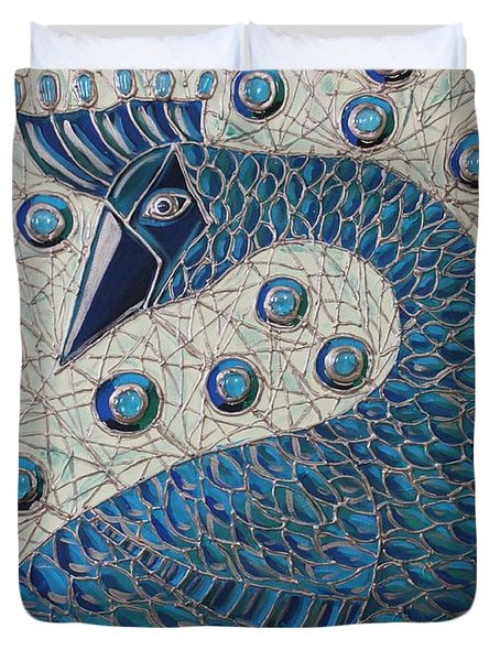 Pretty As A Peacock  Duvet Cover by Cynthia Snyder