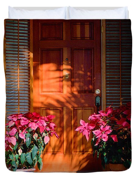Pretty House Door in Key West Duvet Cover by Susanne Van Hulst