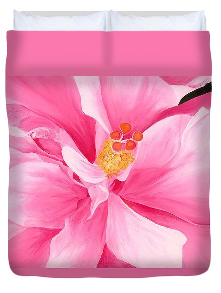 Pretty Pink Hibiscus Painting Duvet Cover by Lisa Bentley